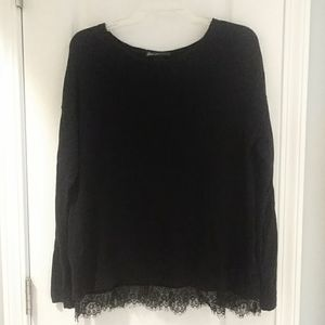 Lane Bryant black sweater with lace hem 14/16